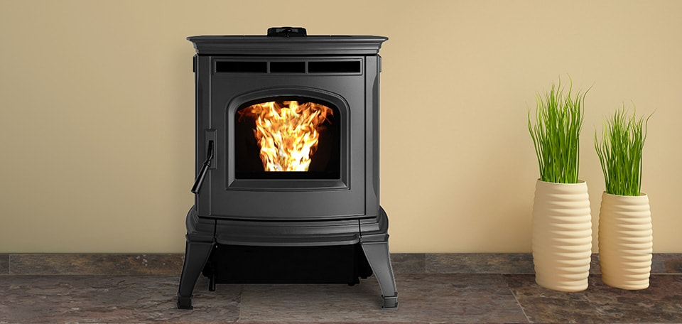 Absolute43 Pellet Stove shown in Matte Black