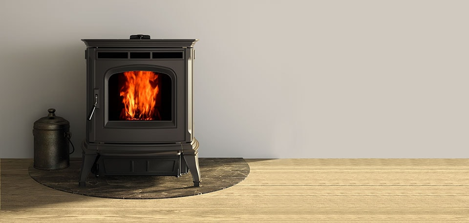 Absolute63 Pellet Stove shown in Matte Black