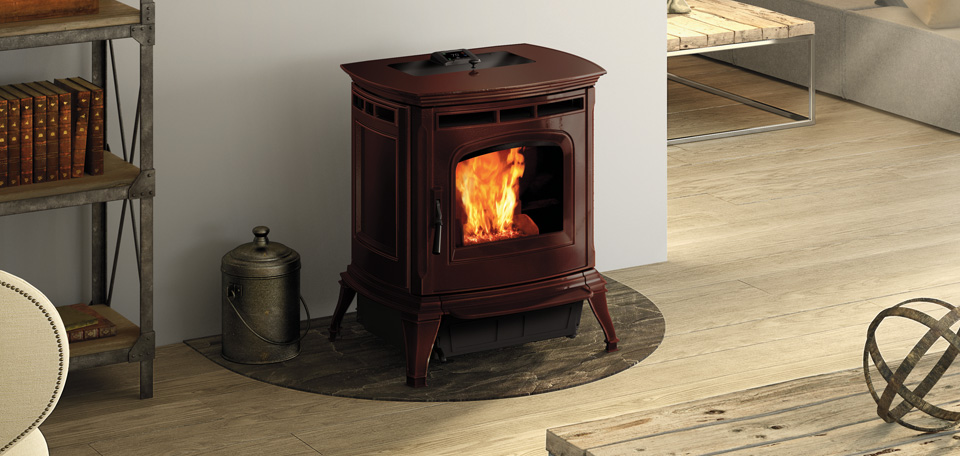 Absolute63 Pellet Stove shown in porcelain Majolica Brown
