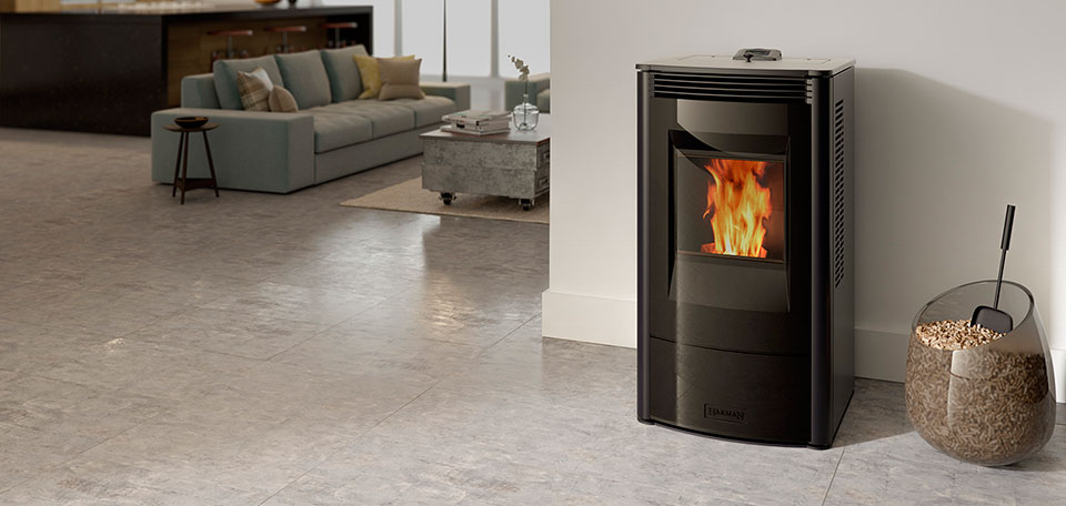 Allure50 Pellet Stove shown in gloss black with glass front