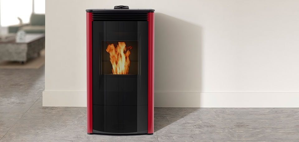 Allure50 Pellet Stove shown in gloss red with glass front