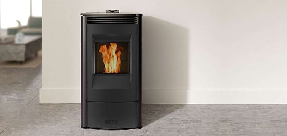 Allure50 Pellet Stove show in satin black with no glass