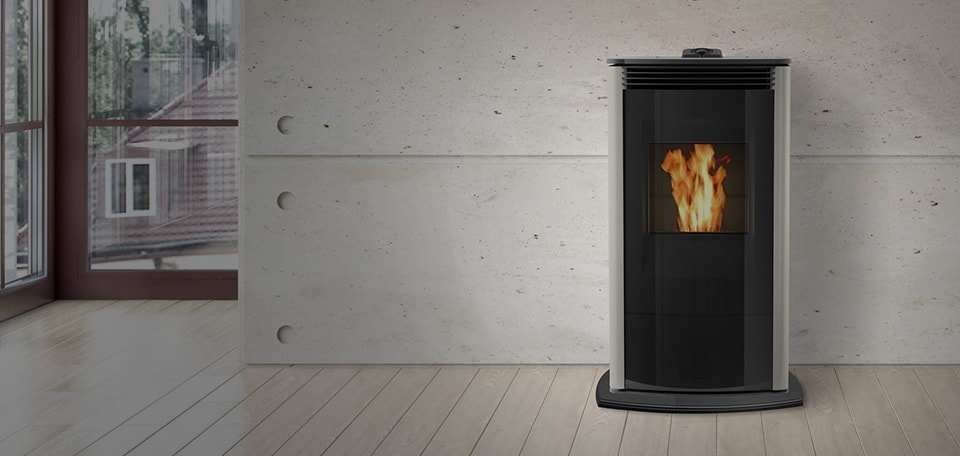 Allure50 Pellet Stove shown with brushed stainless steel finish and glass front