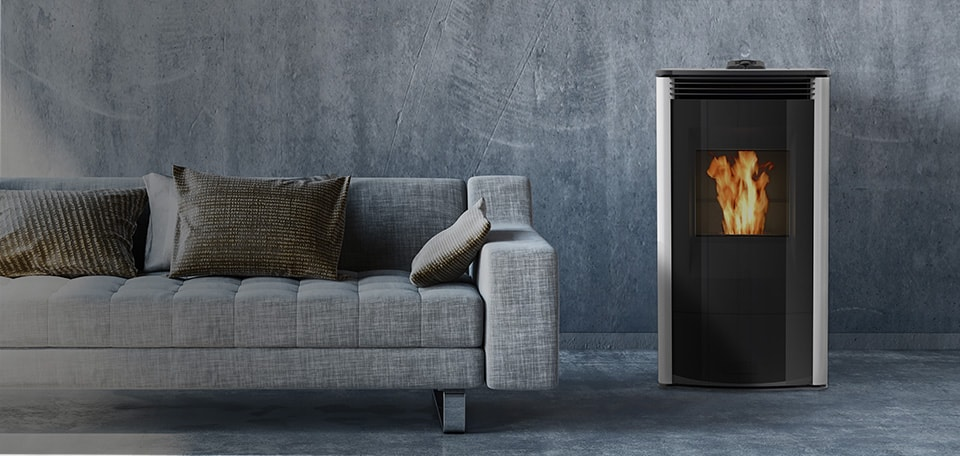 Allure50 Pellet Stove shown in gloss white and glass front