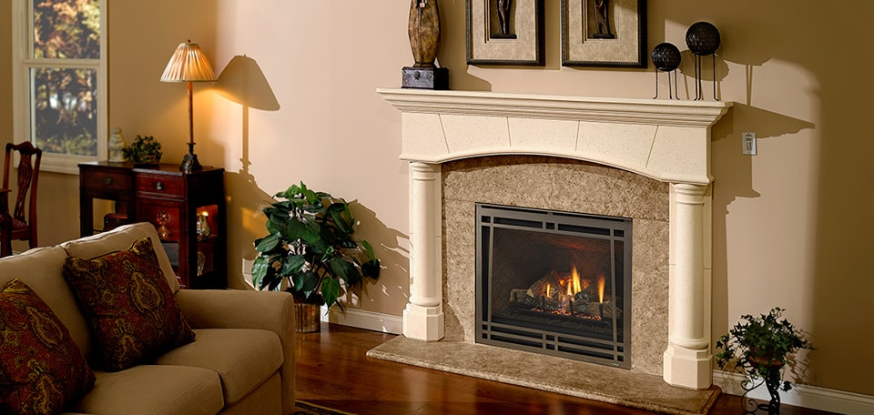 Caliber nXt Gas Fireplace with Craftsman front in bronze and herringbone refractory