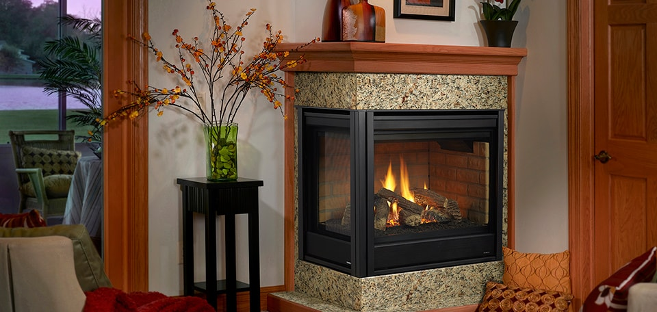Corner Gas Fireplace shown with Simon front in black