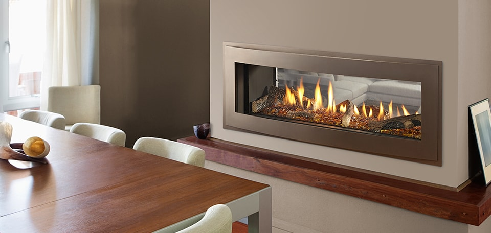 Crave 48 See-Through with Illusion front in bronze, LED lighting, amber glass media & log set