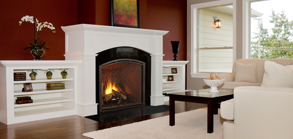 Heirloom 36 Direct Vent Gas Fireplace with Arched Firescreen front