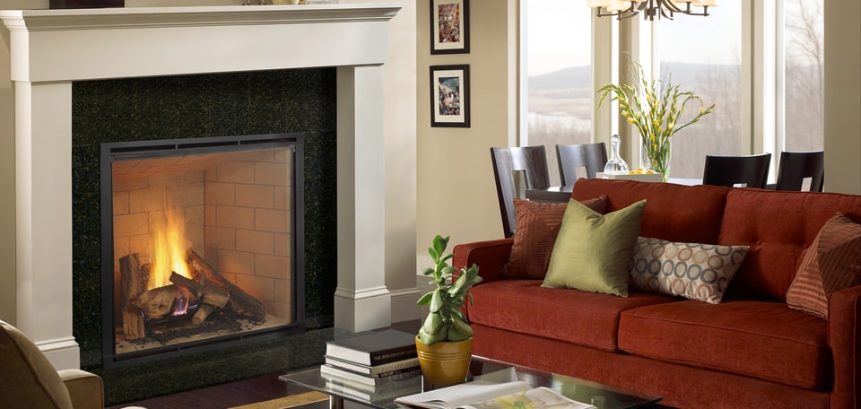 Heirloom 42 Direct Vent Gas Fireplace with Firescreen front