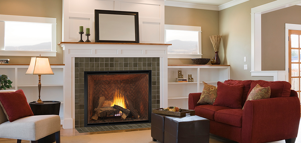 Heirloom 50 Direct Vent Gas Fireplace with Firescreen Cabinet front
