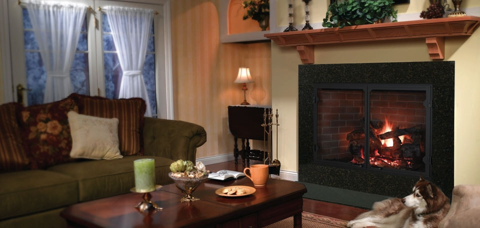 Icon 100 Wood Fireplace with Grand Vista doors and traditional refractory