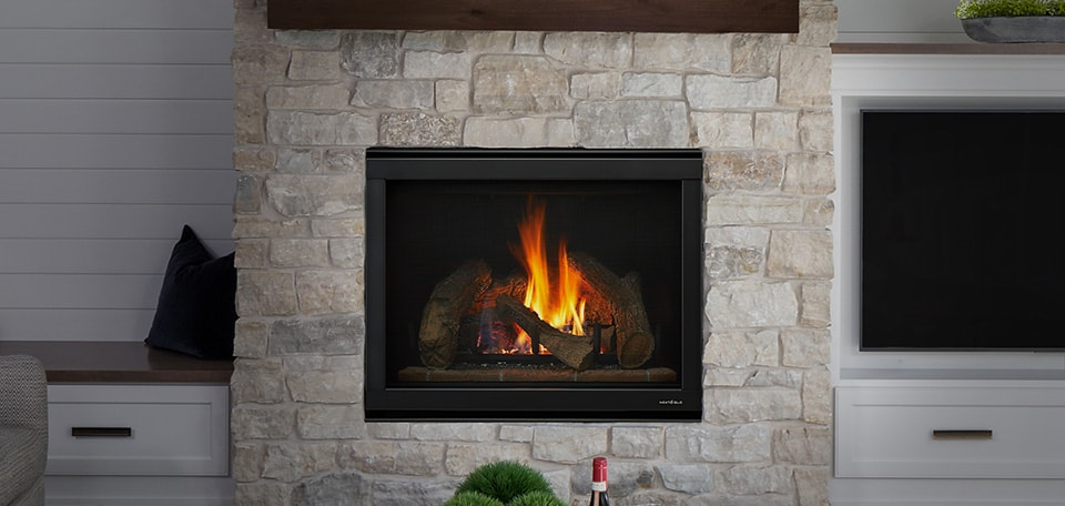 6000C Gas Fireplace with Arcadia front in black