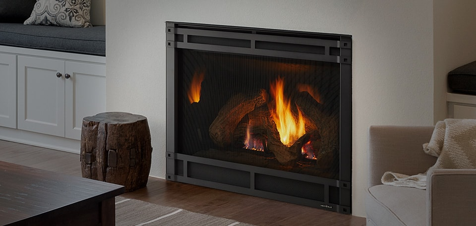 8000CL Gas Fireplace with clean face front in black and stratford refractory