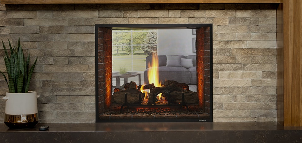 Escape See-Through Gas Fireplace with firescreen front in black