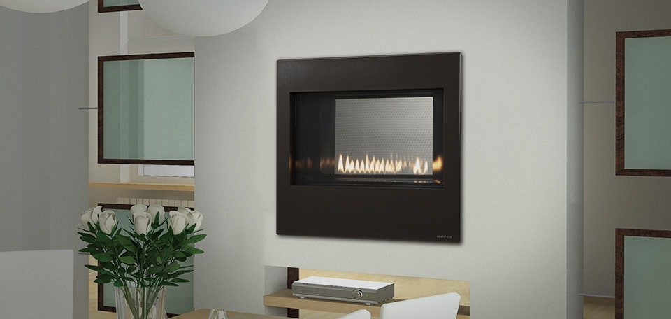 Metro 32 Gas Fireplace with Modern Front in fog gray and black glass media