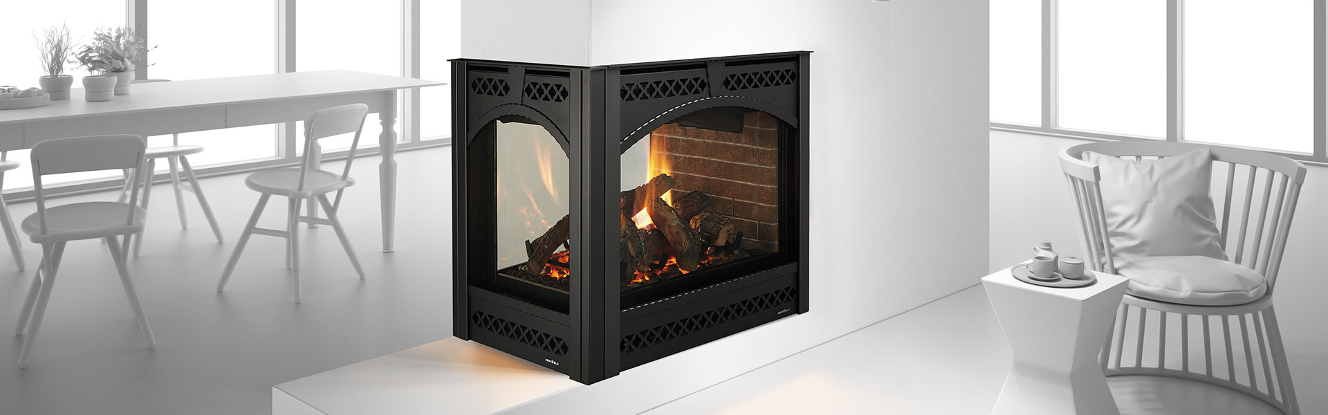 Pier See-Through Gas Fireplace with Chateaux front