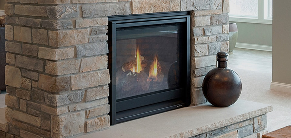 ST-36 See-Through Gas Fireplace with Folio front in black