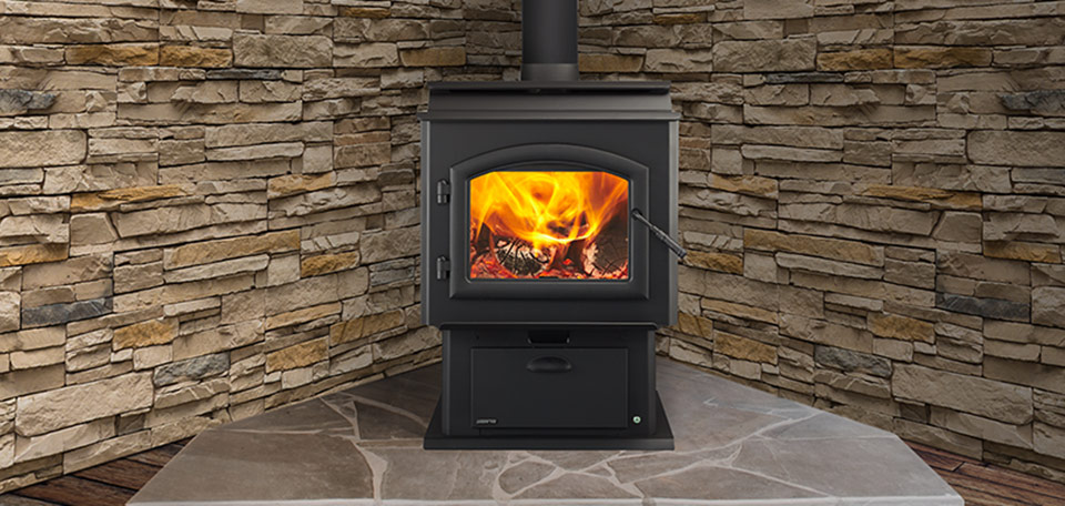 Adventure II Wood Stove shown with black arched door