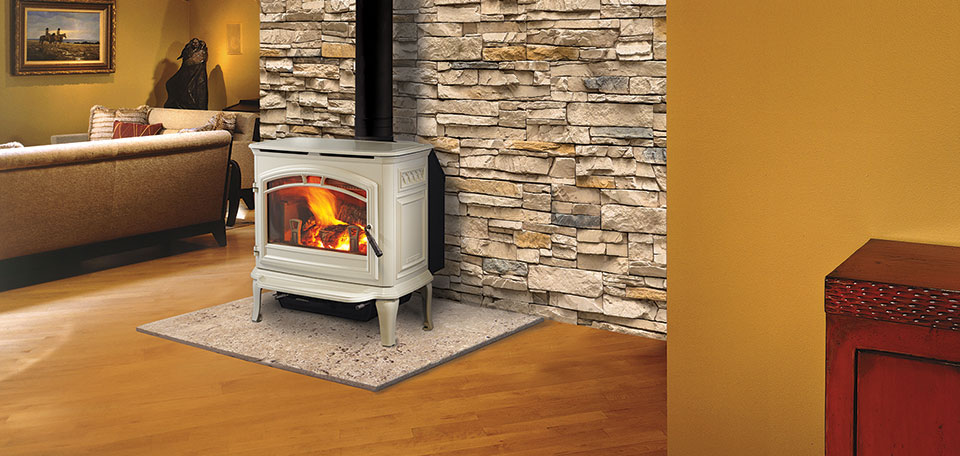 Explorer I Wood Stove shown in porcelain frost