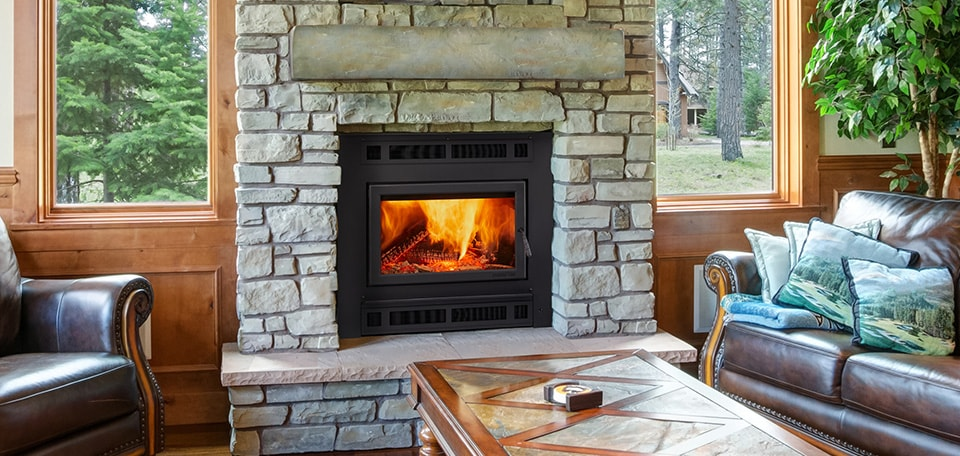 Pioneer III Wood Fireplace with Mission Rectangular front