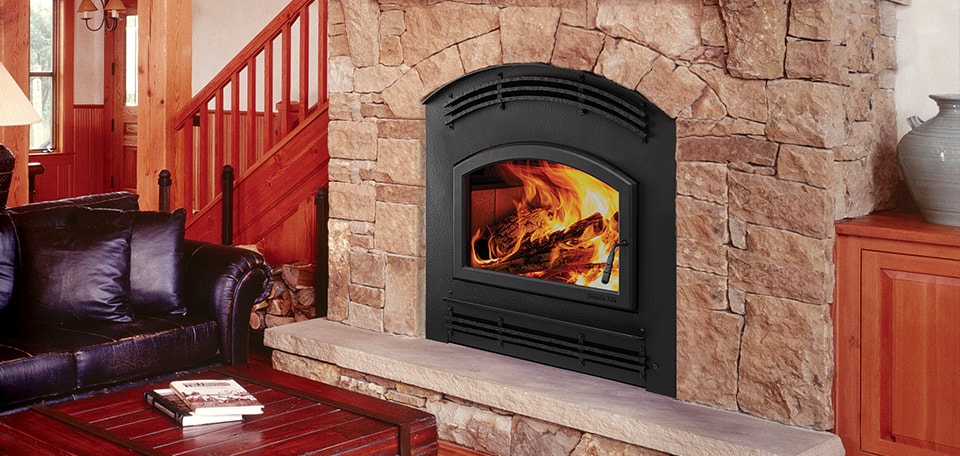 Pioneer III Wood Fireplace with Forge Arched front