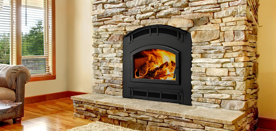 Pioneer III Wood Fireplace with Mission Arched front